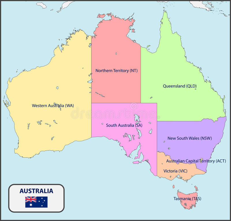 Political Map Of Australia With Names Stock Vector Image - Political map of australia
