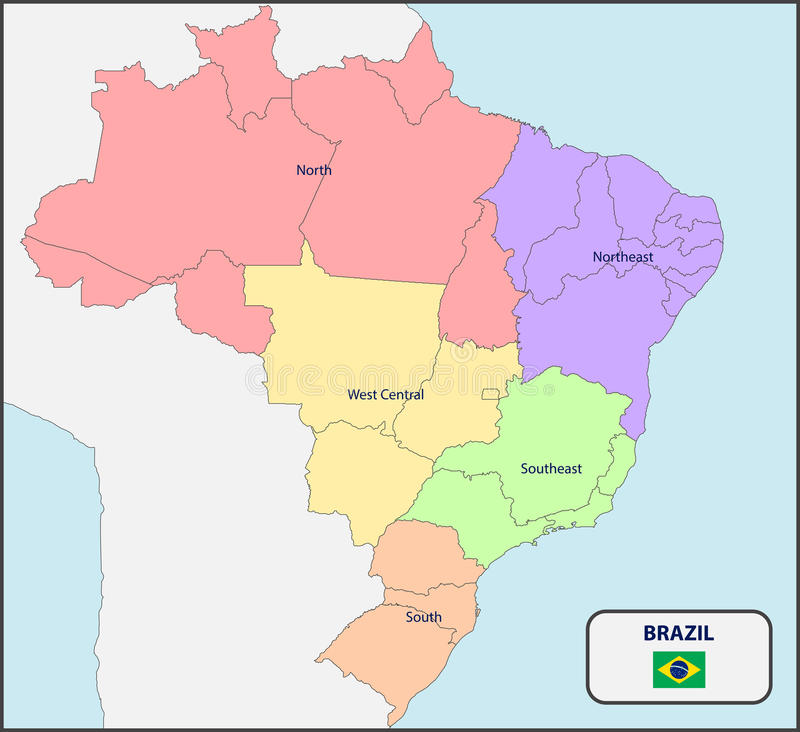 Political Map Of Brazil With Names Stock Vector Illustration of