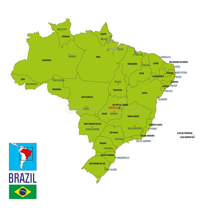 Political map of Brazil stock vector Illustration of states 111787761