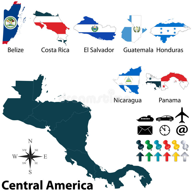 Political map of Central America vector illustration