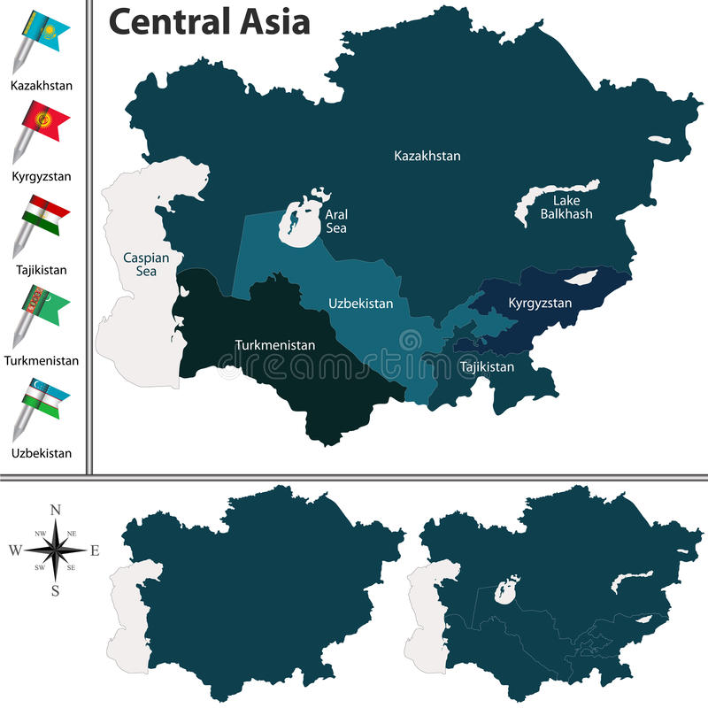 Political map of Central Asia vector illustration