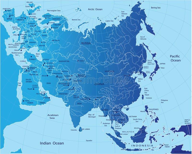 Political map of Eurasia royalty free illustration