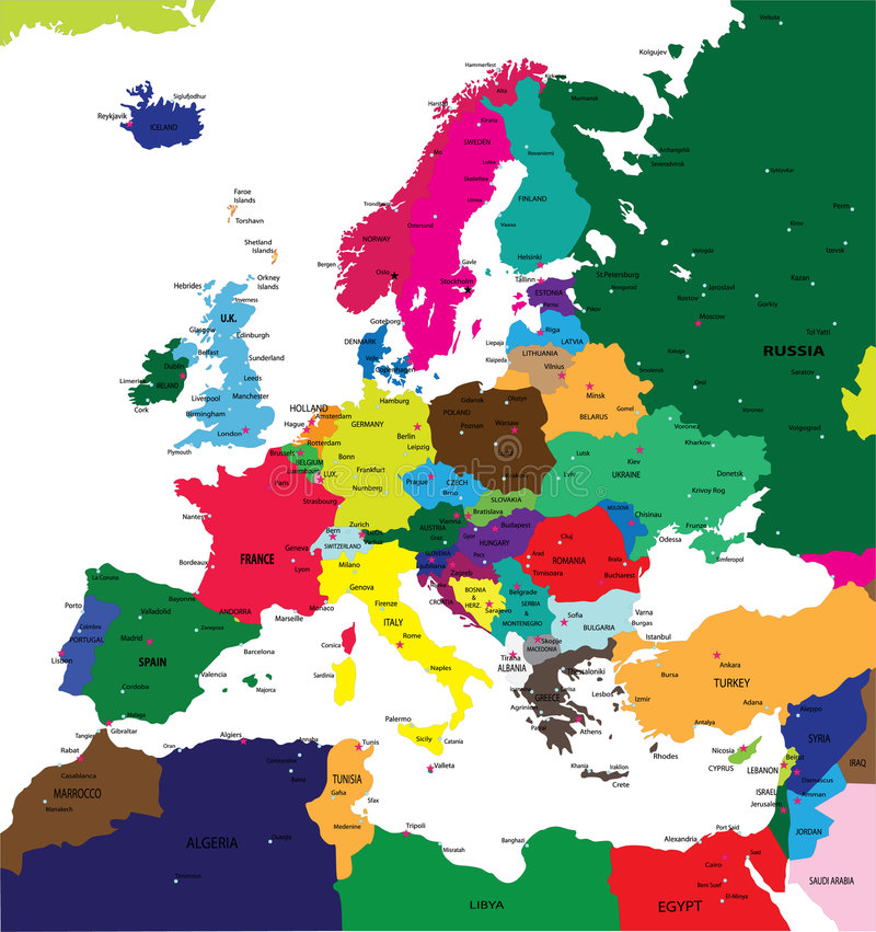 Political map of Europe. In vector format, with all the major cities stock illustration
