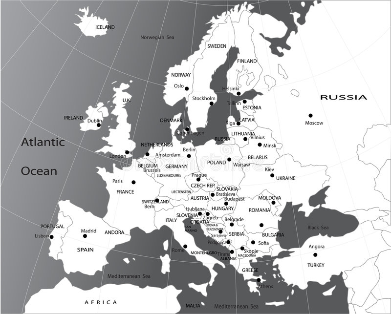Political map of Europe royalty free illustration