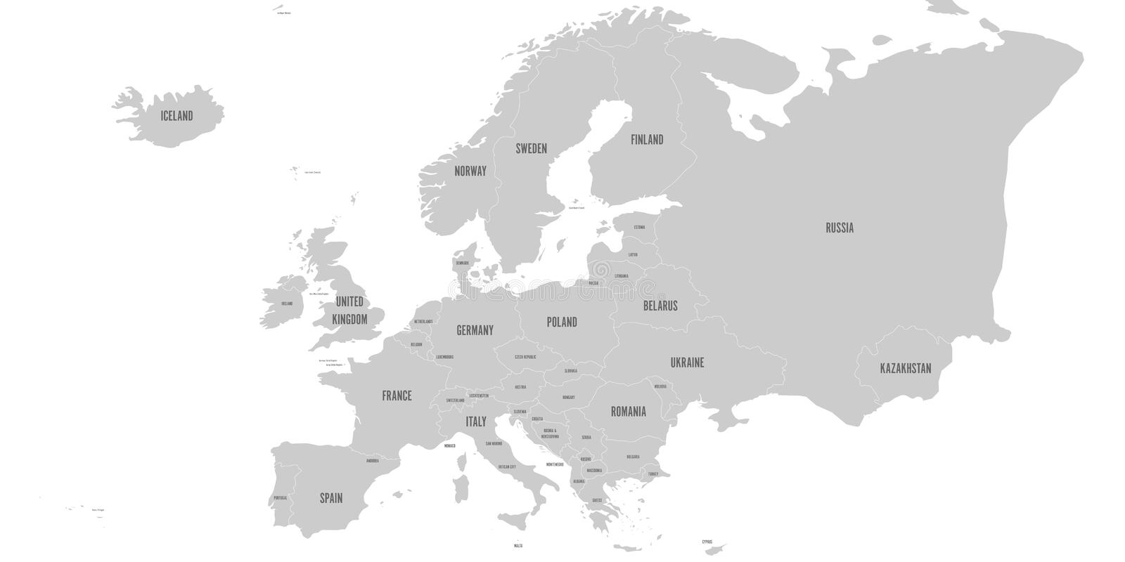 Political Map Of Europe Continent In Grey. With Whole ...