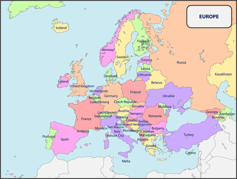 download political map of europe with names stock vector illustration of names europe