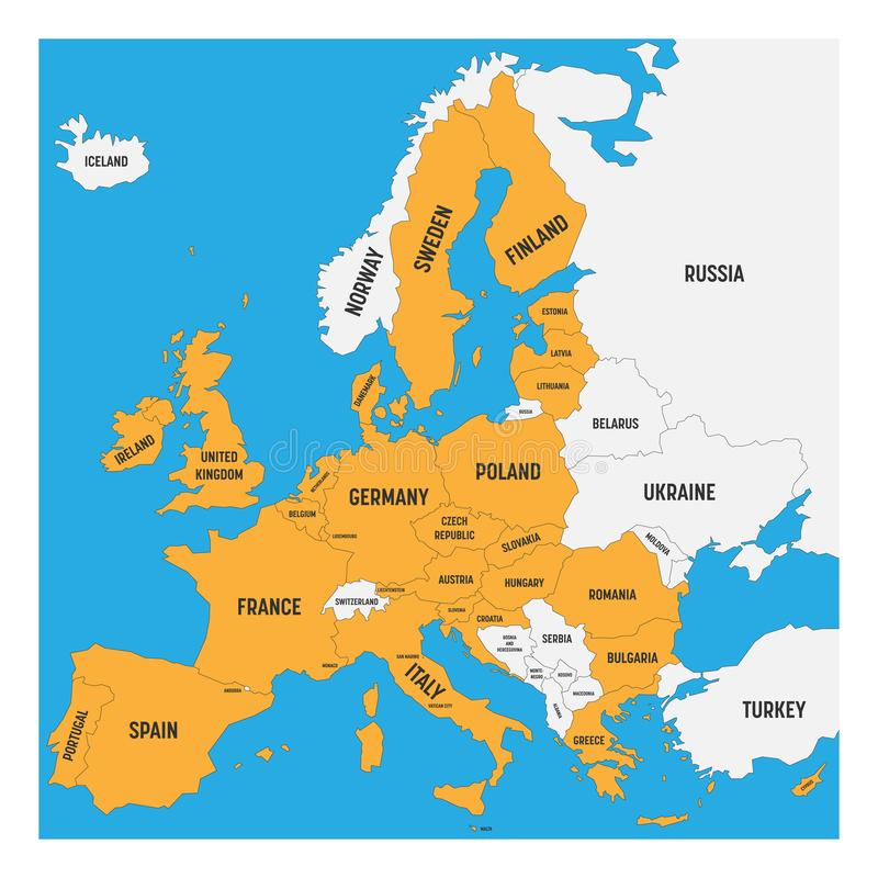 Wonderful Download Political Map Of Europe With White Land And Yellow Highlighted 28  European Union, EU