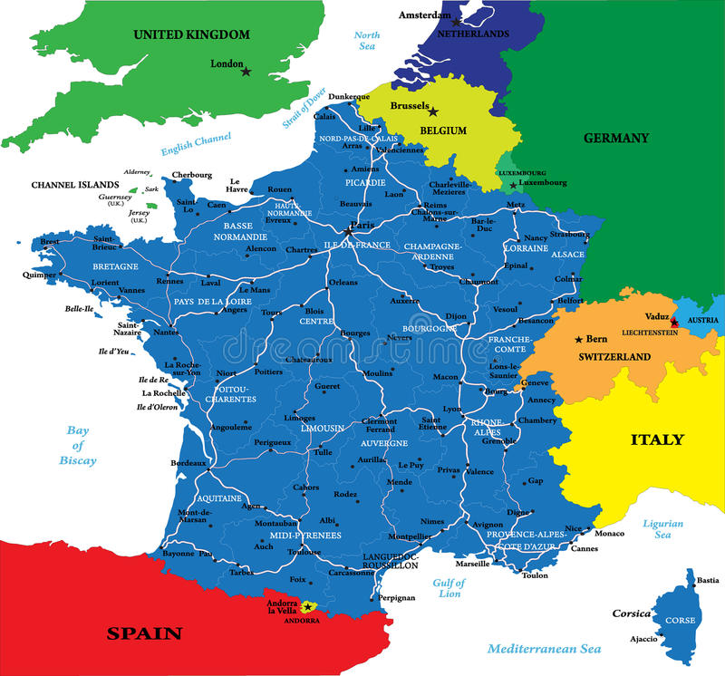 Political map of France. Highly detailed vector map of France with main regions,cities,roads and neighbour countries stock illustration