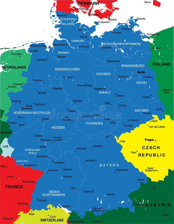 Political map of Germany royalty free illustration