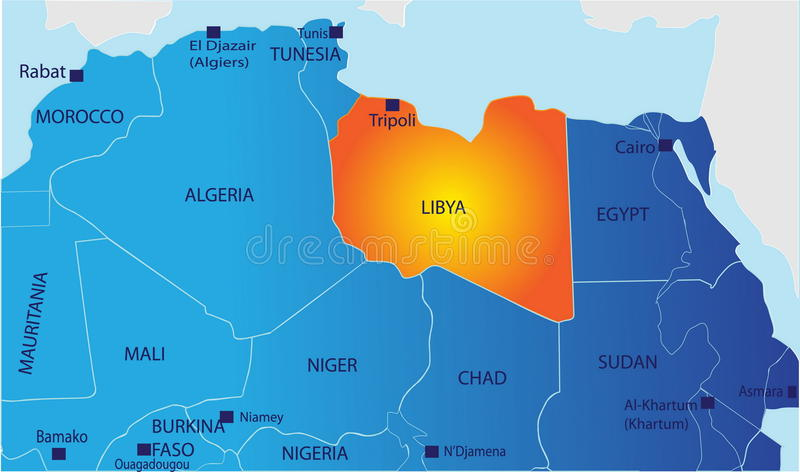 Political map of Libya. Political map of North Africa with Libya isolated vector illustration