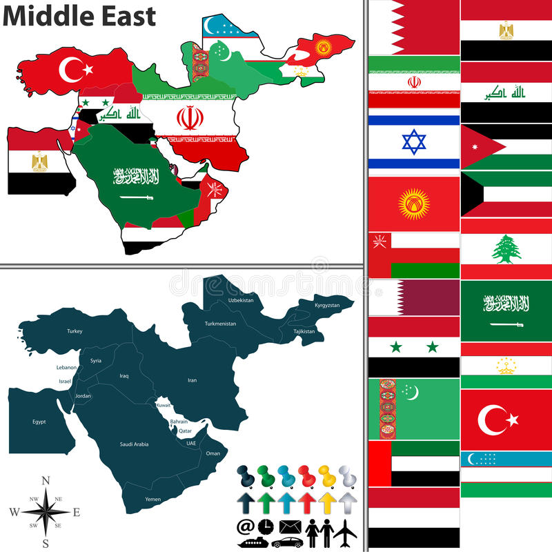 Political map of Middle East royalty free illustration