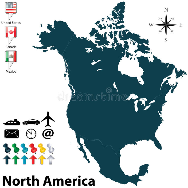 Political map of North America royalty free illustration