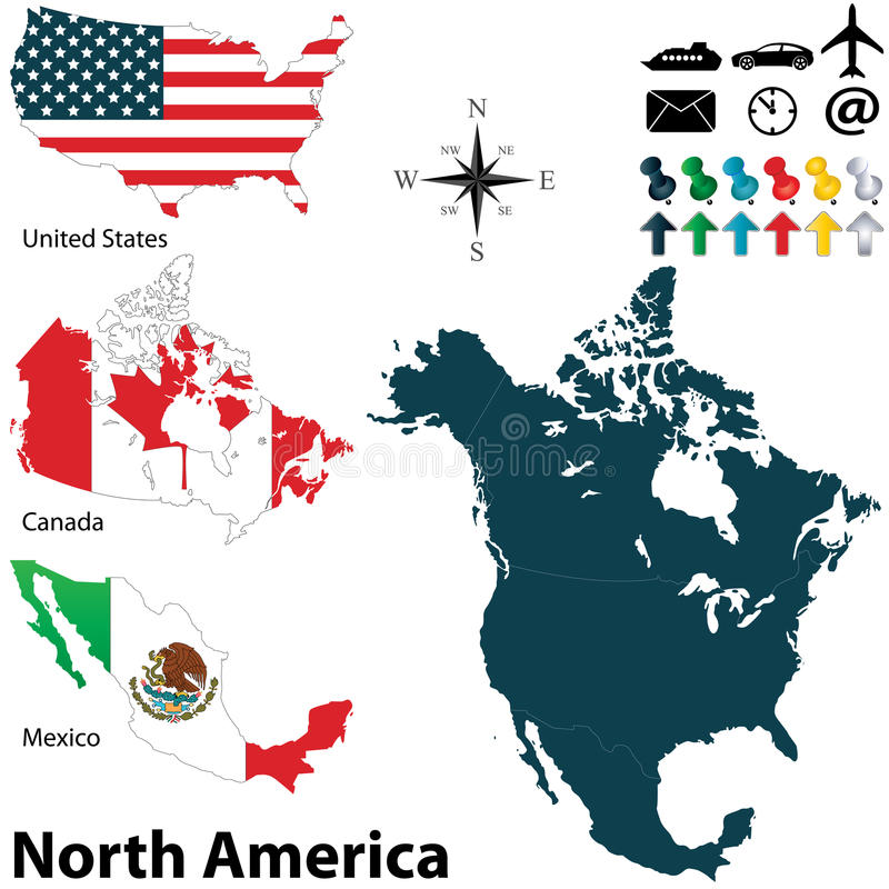 Political Map Of North America Stock Vector - Illustration ...
