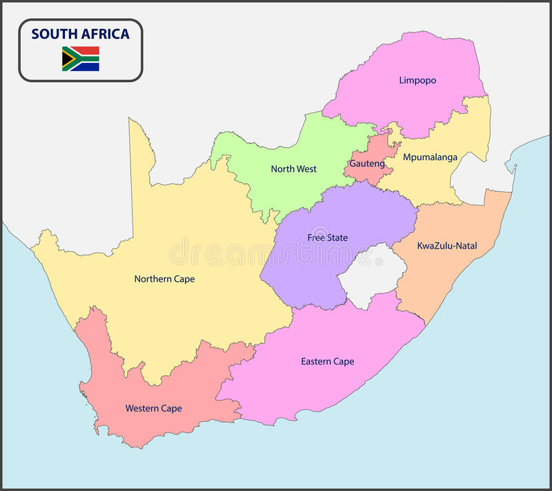 Political Map of South Africa with Names vector illustration