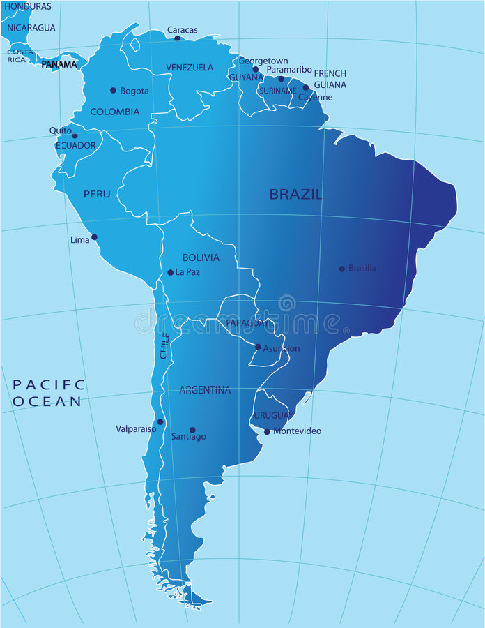 Political map of South America stock illustration