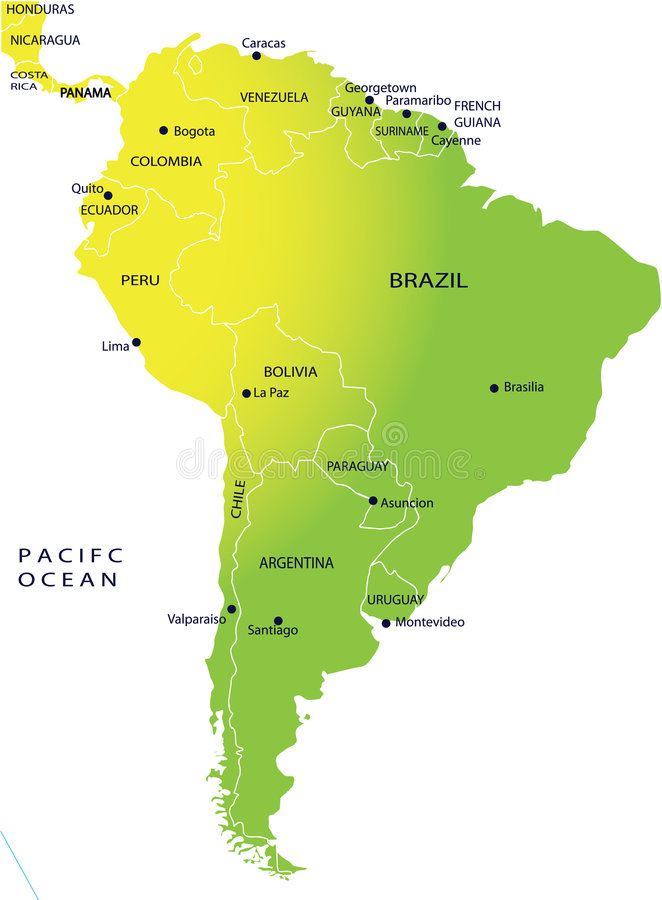 Political Map Of South America Stock Photo