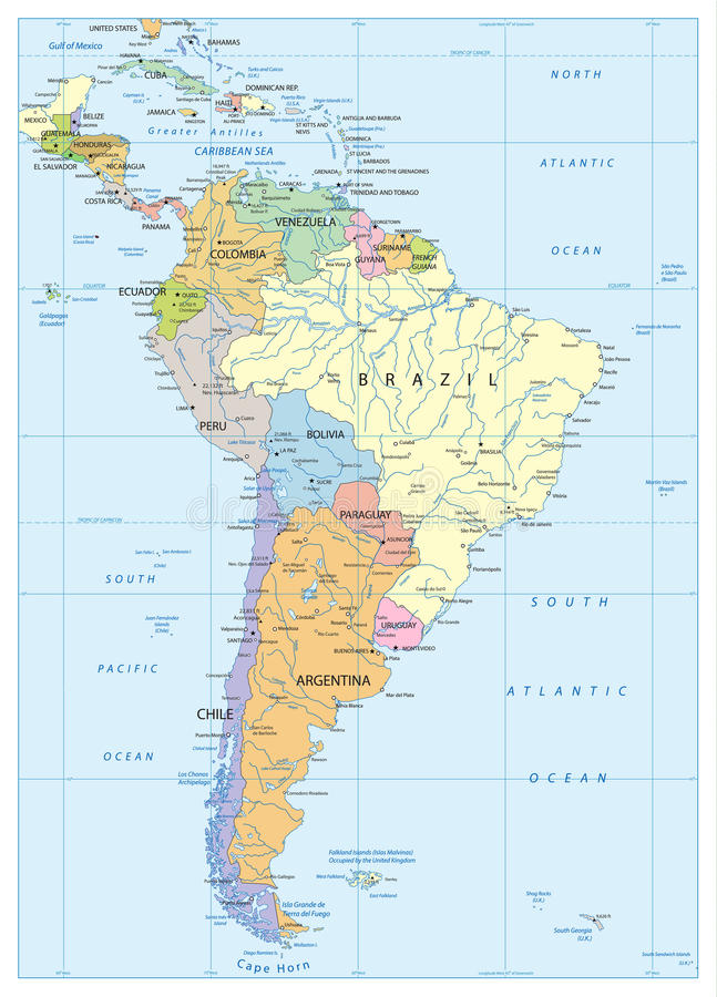 Political Map Of South America Stock Vector Illustration Of - Political map of brazil