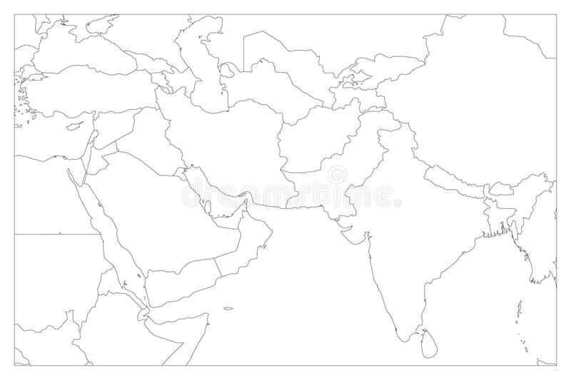 Political Map Of South Asia And Middle East Countries Simple Flat