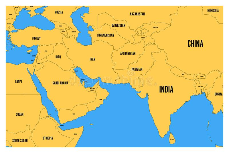 download political map of south asia and middle east simple flat vector map with yellow