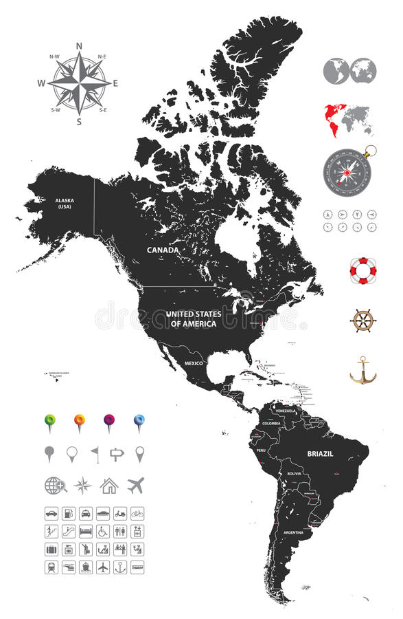 Political map of south and north america vector illustration