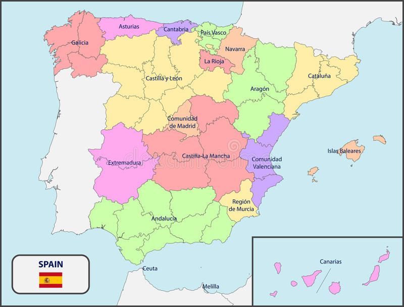 Political Map Of Spain With Names Stock Vector Image - Spain political map