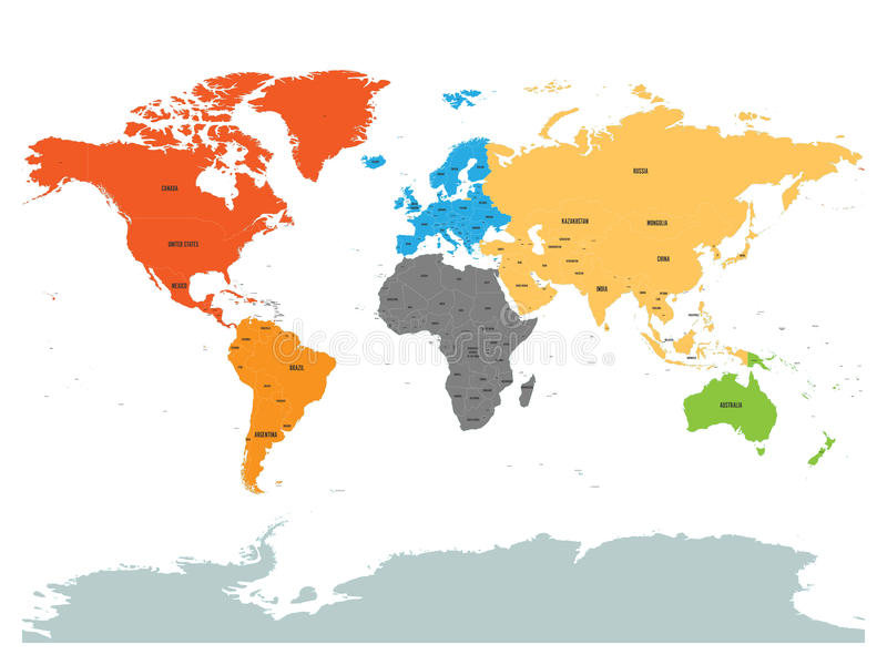 Political Map Of World With Antarctica Continents In Different - Different continents of the world
