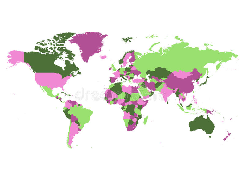 World Map Blank Without Borders. Download Political Map Of World  Countries In Four Different Violet And Green Colors Without Borders