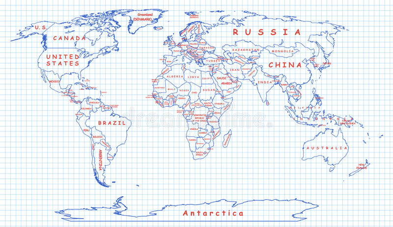 Political map of the world drawn with blue pen royalty free illustration