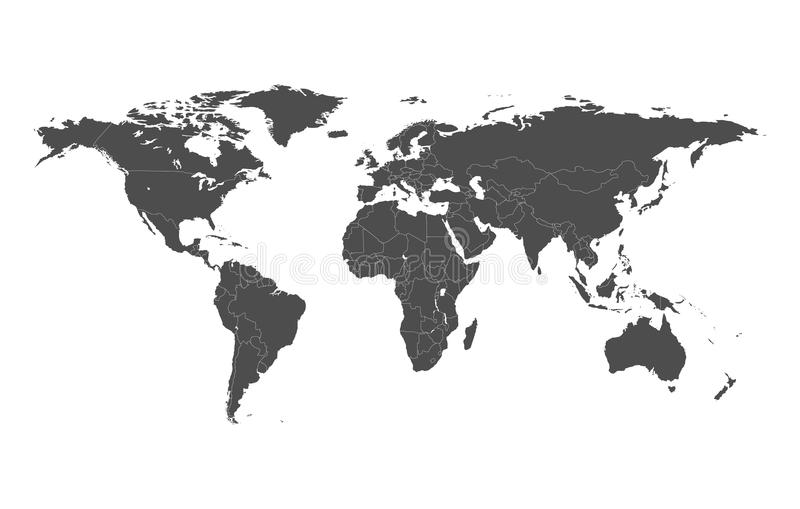 Political map of the world with separate countries. Editable stroke.  stock illustration