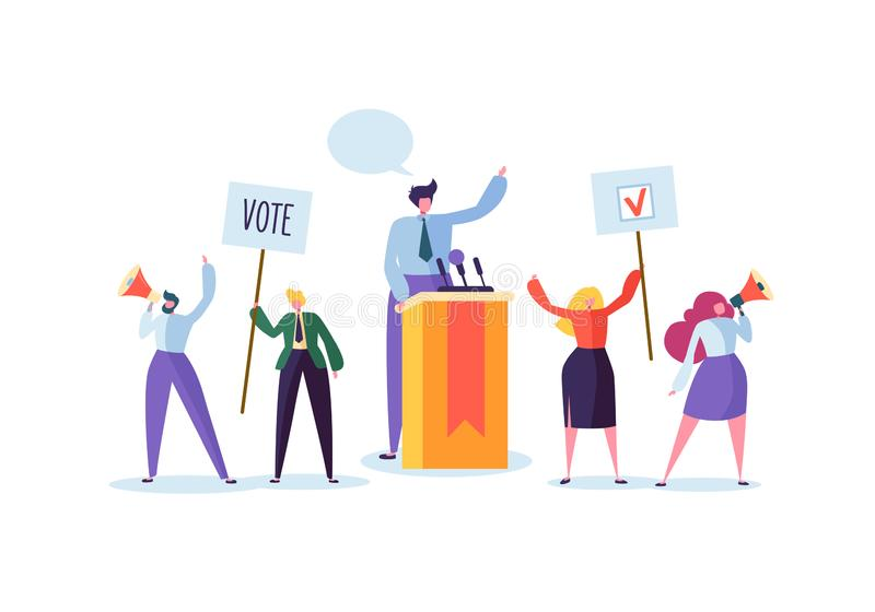 Political Meeting with Candidate in Speech. Election Campaign Voting with Characters Holding Vote Banners and Signs. Man and Woman Voters with Megaphone vector illustration