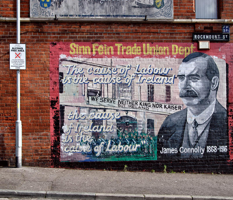 Political murals, Belfast, Northern Ireland. Republican murals with political paintings in Falls Road area in Belfast, Northern Ireland on August 28, 2009 stock photography