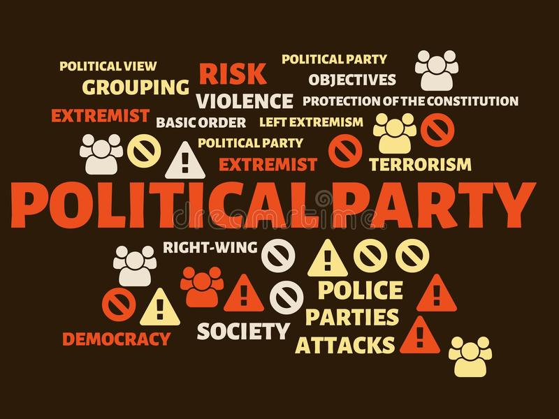 POLITICAL PARTY - image with words associated with the topic EXTREMISM, word, image, illustration. POLITICAL PARTY - image with words associated with the topic vector illustration