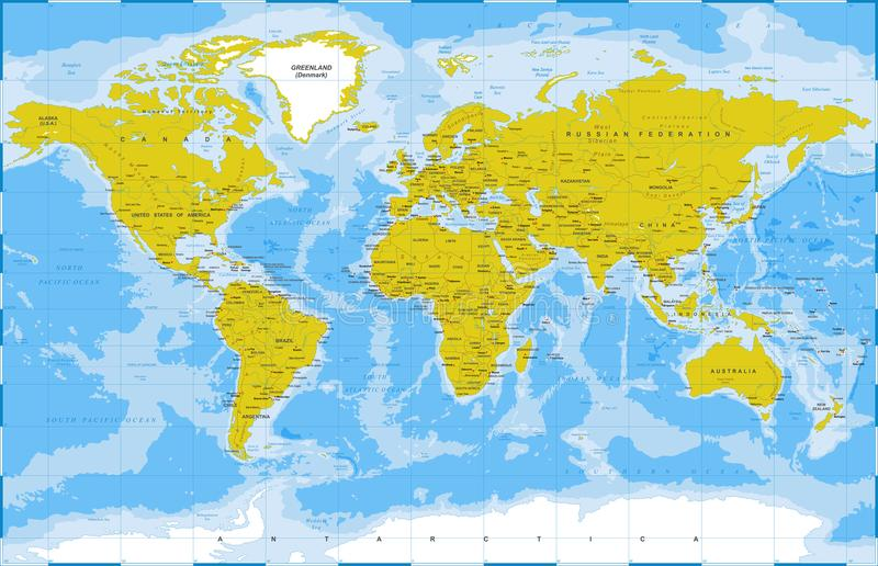 Political Physical Topographic Colored World Map Vector Stock