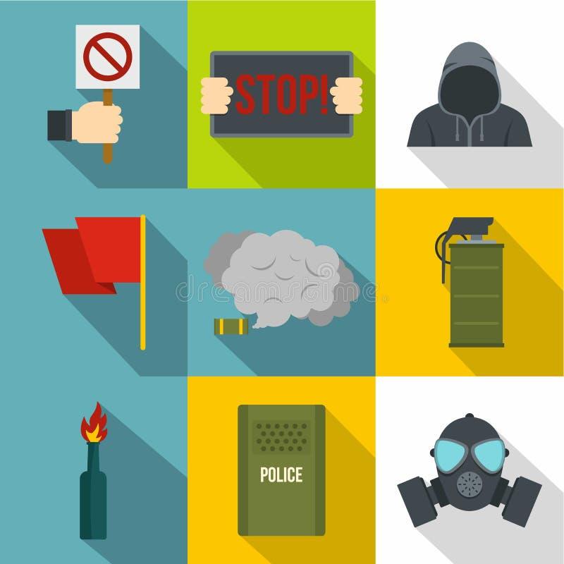 Political revolt icon set, flat style. Political revolt icon set. Flat style set of 9 political revolt vector icons for web design stock illustration