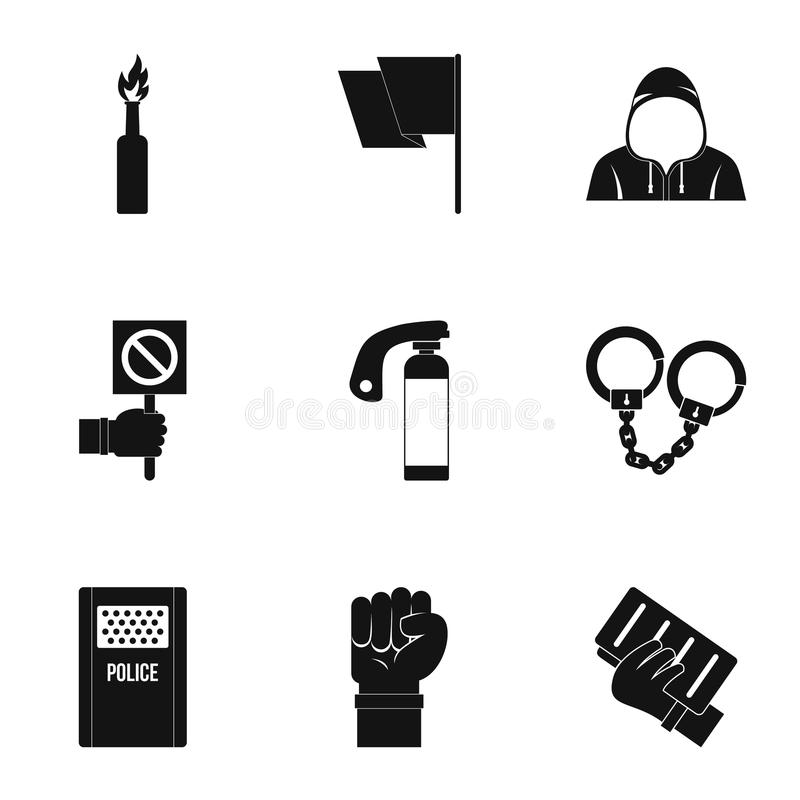 Political revolt icon set, simple style. Political revolt icon set. Simple set of 9 political revolt vector icons for web isolated on white background vector illustration