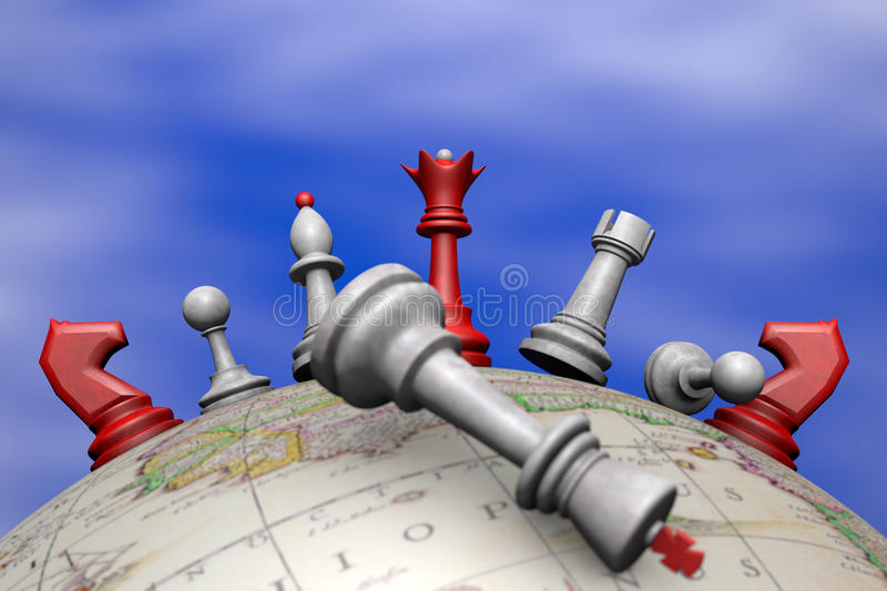 Political upheaval. Symbolic frame (political upheaval). Chess on the globe vector illustration