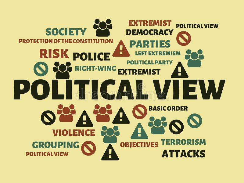 POLITICAL VIEW - AID - image with words associated with the topic EXTREMISM, word, image, illustration. POLITICAL VIEW - AID - image with words associated with vector illustration