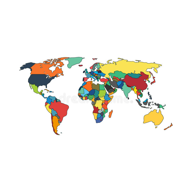 Political world map countries. Vector illustration. stock illustration