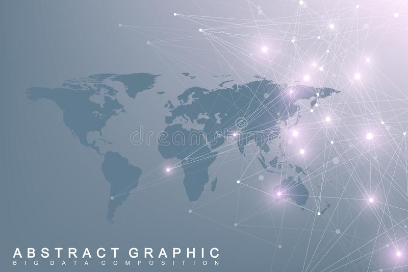 Political World Map with global technology networking concept. Digital data visualization. Lines plexus. Big Data royalty free illustration
