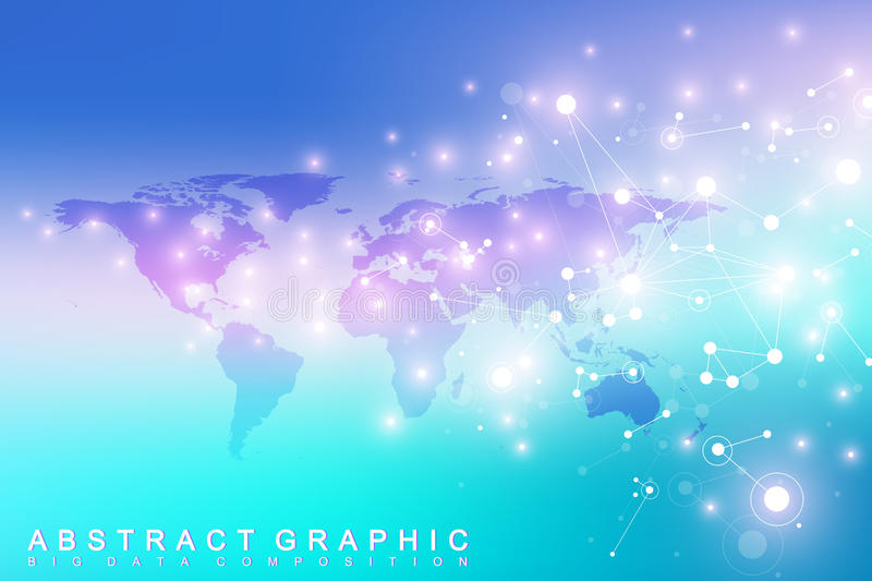 Political World Map with global technology networking concept. Digital data visualization. Lines plexus. Big Data vector illustration
