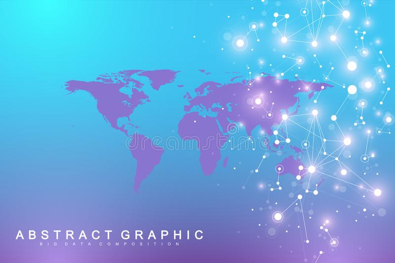 Political World Map with global technology networking concept. Digital data visualization. Scientific cybernetic stock illustration