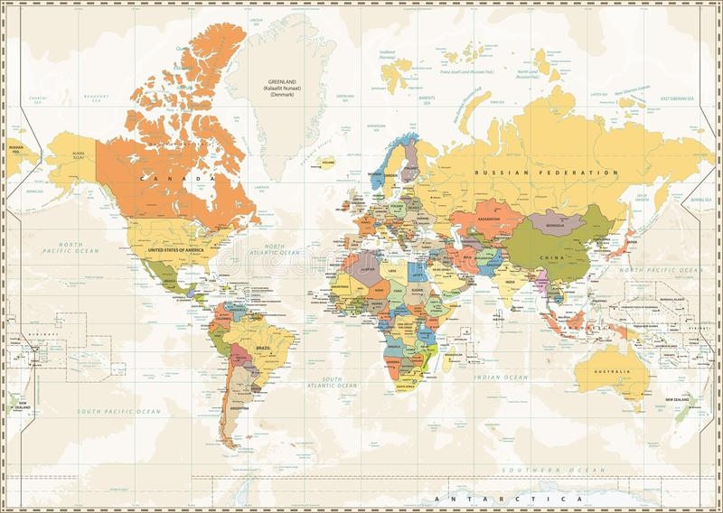 Political World Map Retro Color With Lakes And Rivers Stock Vector