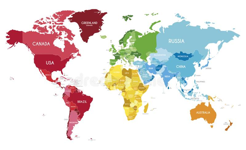 Political World Map vector illustration with different colors for each continent and different tones for each country. Editable and clearly labeled layers royalty free illustration