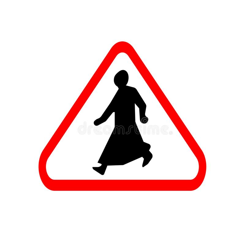 Politically correct road sign in long dress in Qatar, men and women stock illustration