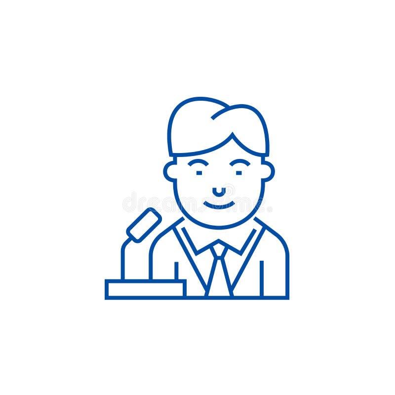 Politican-Linie Ikonenkonzept Flaches Vektorsymbol Politican, Zeichen, Entwurfsillustration stock abbildung