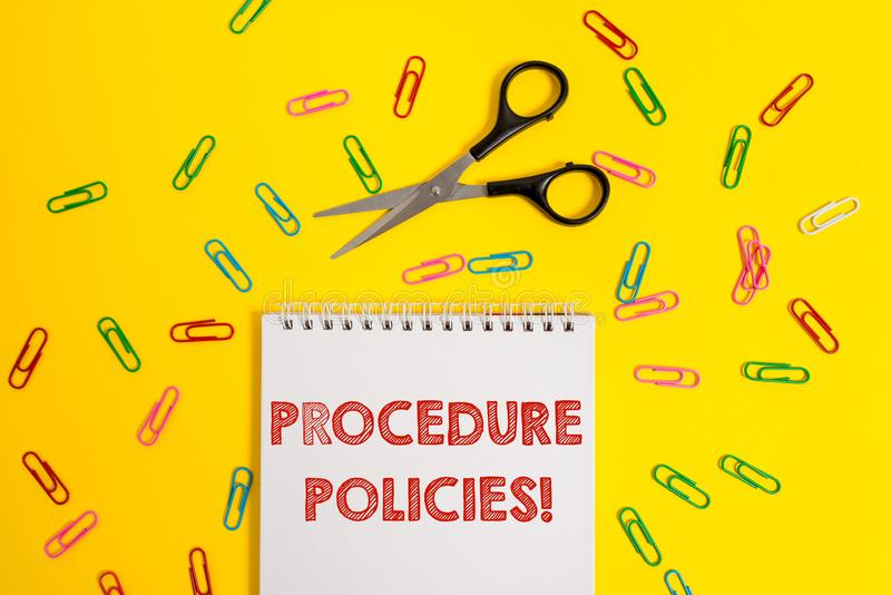 Politiche di procedura del testo di scrittura di parola Il concetto di affari per i punti alle norme ed ai regolamenti di princip fotografie stock libere da diritti