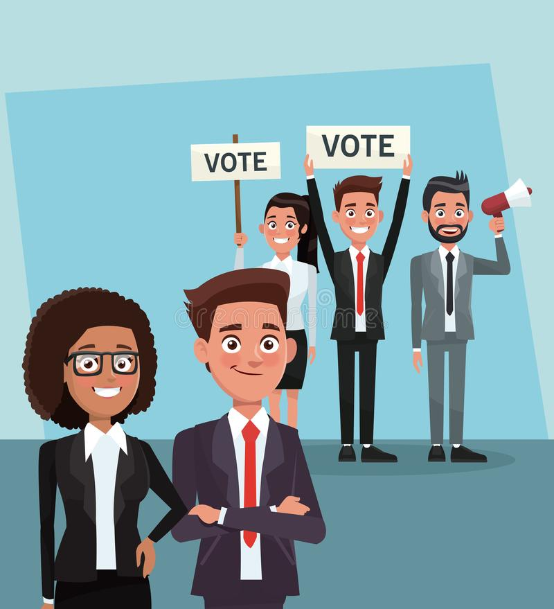 Politici nella campagna di voto illustrazione di stock