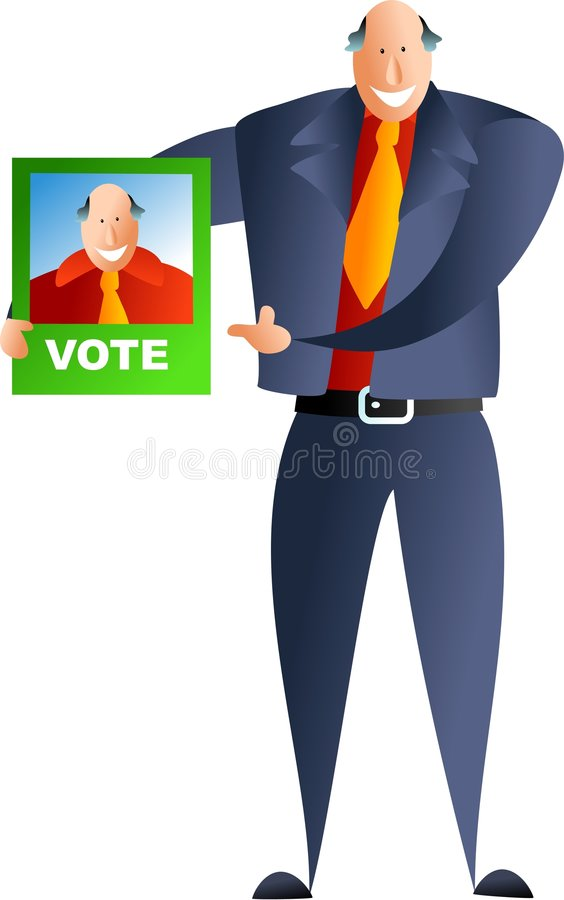 Politician. Occupations and jobs - canvassing for votes stock illustration