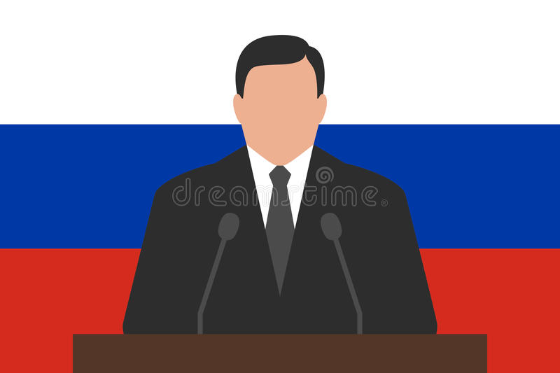 Politician behind podium, flag of Russia at background vector illustration