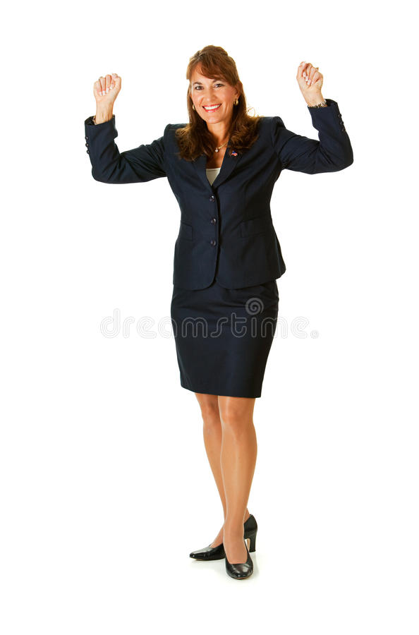 Politician: Cheering with Hands Raised. Series with an adult female in a suit, playing the part of a United States politician. Different props provide a variety royalty free stock photo